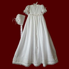 Click to Enlarge Picture - Circle of Shamrocks Christening Gown With Embroidered Gods Prayer & Magic Hanky Bonnet