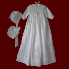 Click to Enlarge Picture - Shamrock Heart Unisex Irish Linen Christening Gown With Shamrock Swirl Border, Slip & Bonnets