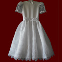 Click to Enlarge Picture - Organza With Crosses First Holy Communion Dress