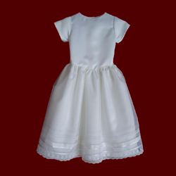 Click to Enlarge Picture - Silk & Sheer Organza Communion Dress