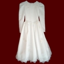 Click to Enlarge Picture - Satin With Beaded Trim Communion Dress