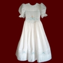 Click to Enlarge Picture - Hand Smocked & Embroidered Communion Dress