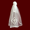 Click to Enlarge Picture - Floral Hairbow &  Veil With Optional Cross & Tiara