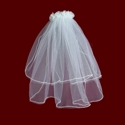 Click to Enlarge Picture - Silk Organza Floral Comb With Pearl Edged Veil & Optional Cross