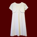 Click to Enlarge Picture - Linen Communion Dress With Optional Jacket