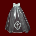 Click to Enlarge Picture - Satin Beaded Hairbow With Optional Cross & Veil