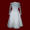 Click to Enlarge Picture - Silk Organza With Duchess Satin & Beaded Trim Communion Dress