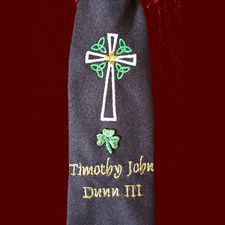 Click to Enlarge Picture - Boys Irish Communion Tie With Embroidered Celtic Cross With Trinity Knots