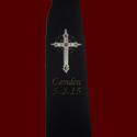 Click to Enlarge Picture - Embroidered Cross Communion Tie With Gold