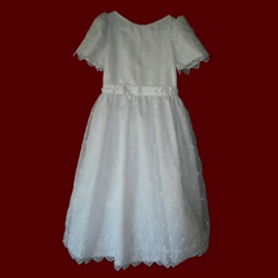 Click to Enlarge Picture - Embroidered Organza Communion Dress