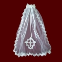 Click to Enlarge Picture - Sequin Beaded Communion Veil With Optional Cross & Headpiece