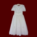 Click to Enlarge Picture - Embroidered Beaded Communion Dress With Crosses