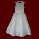 Click to Enlarge Picture - Peau de Soie With Organza Skirt Communion Dress & Optional Shamrocks