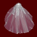 Click to Enlarge Picture - Beaded Scalloped Communion Veil With Organza Hairbow