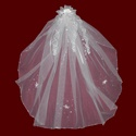 Click to Enlarge Picture - Beaded Edge Communion Veil With Organza Hairbow