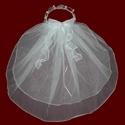 Click to Enlarge Picture - Pearl Tiara With Beaded Veil & Optional Cross