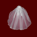 Click to Enlarge Picture - Silver Scalloped Communion Veil With Optional Tiara or Wreath
