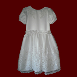 Click to Enlarge Picture - Beaded Organza With Lace & Satin Communion Dress
