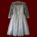 Click to Enlarge Picture - Embroidered Crosses Organza With Sheer Bodice & Sleeves Communion Dress