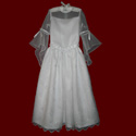 Click to Enlarge Picture - Embroidered Organza With Crosses & Angel Sleeve Communion Dress