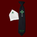 Click to Enlarge Picture - Boys Embroidered Cross Communion Tie & Monogrammed Pocket Square