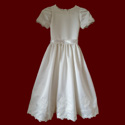Click to Enlarge Picture - Hail Mary First Communion Dress With Embroidered Crosses And Beaded Lace