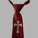 Click to Enlarge Picture - Boys Communion Tie With Beige Fleur De Lis Embroidered Cross