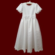 Click to Enlarge Picture - Allover Simple Cross Embroidered Organza Communion Dress