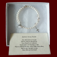 Click to Enlarge Picture - Ivory Swarovski Crystal & Pearl Wrap Rosary Bracelet With Optional Irish Charms