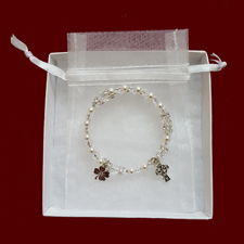 Irish Swarovski Crystal Wrap Rosary Bracelet with Shamrock & Celtic Cross