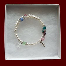 Click to Enlarge Picture - Family Birthstone Swarovski Crystal & Pearl Wrap Rosary Bracelet