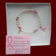 Click to Enlarge Picture - Pray for a Cure ~ Breast Cancer Rosary Wrap Bracelet With Poem