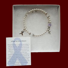Click to Enlarge Picture - Pray for a Cure for ALL cancers ~ Lavender Rosary Bracelet