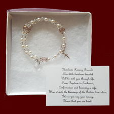 Click to Enlarge Picture - Baby Girl or Boy Christening Rosary Bracelet