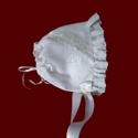 Click to Enlarge Picture - Irish Linen Girls Christening Bonnet With Celtic Cross