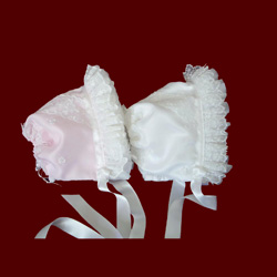 Click to Enlarge Picture - Silk Satin Organza Ruffle Girls Bonnet With Removable Liner