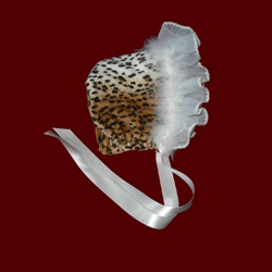 Click to Enlarge Picture - Leopard Minky Bonnet With Organza & Lace Ruffle With Boa, Size 6 Mos