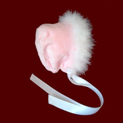 Click to Enlarge Picture - Pink Minky Bonnet With Marabou Boa, Size 12 Mos