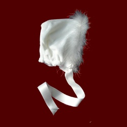 Click to Enlarge Picture - White Minky Girl Bonnet With Marabou Boa, Size 18 Mos
