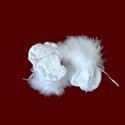 Click to Enlarge Picture - Marabou Boa Trimmed Girls Christening Booties With Embroidered Cross