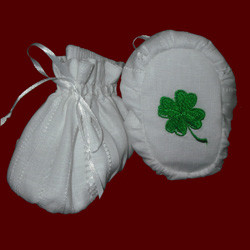 Click to Enlarge Picture - Irish Embroidered Shamrock Christening Booties