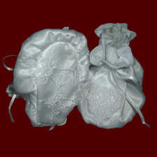 Click to Enlarge Picture - Organza Christening Booties with Heart Applique
