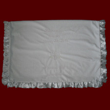 Girls Minky Embroidered Christening Blanket