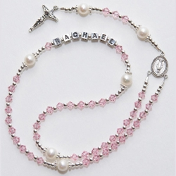 Click to Enlarge Picture - Birthstone Christening/Communion Rosary