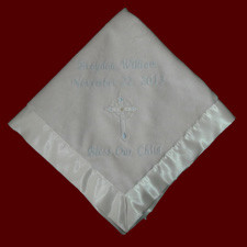 Click to Enlarge Picture - Corner Embroidered Cross With Saying Christening Blanket