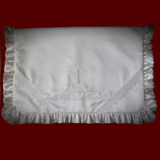 Click to Enlarge Picture - Girls Embroidered Cross & Lace Christening Blanket
