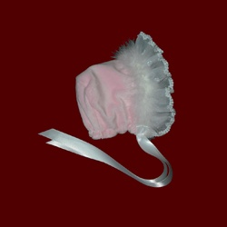 Click to Enlarge Picture - Pink Minky Bonnet With Organza & Lace Ruffle & Marabou Boa, 9-12 Mos