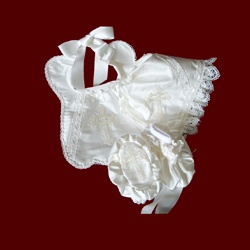 Click to Enlarge Picture - Ivory Silk Girls Christening Bib & Booties Set, Size 3 Mos