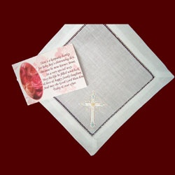 Click to Enlarge Picture - Cross Embroidered Boys Christening Hanky