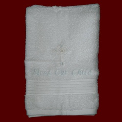 Bless Our Child Boys Embroidered Cross Christening Towel